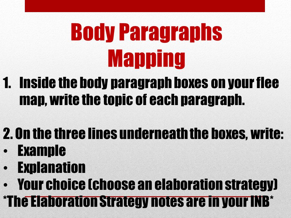 Body Paragraphs Mapping 1.Inside the body paragraph boxes on your flee map, write the topic of each paragraph. 2. On the three lines underneath the bo