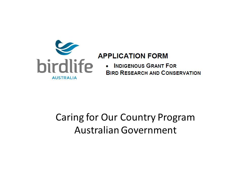 Caring for Our Country Program Australian Government