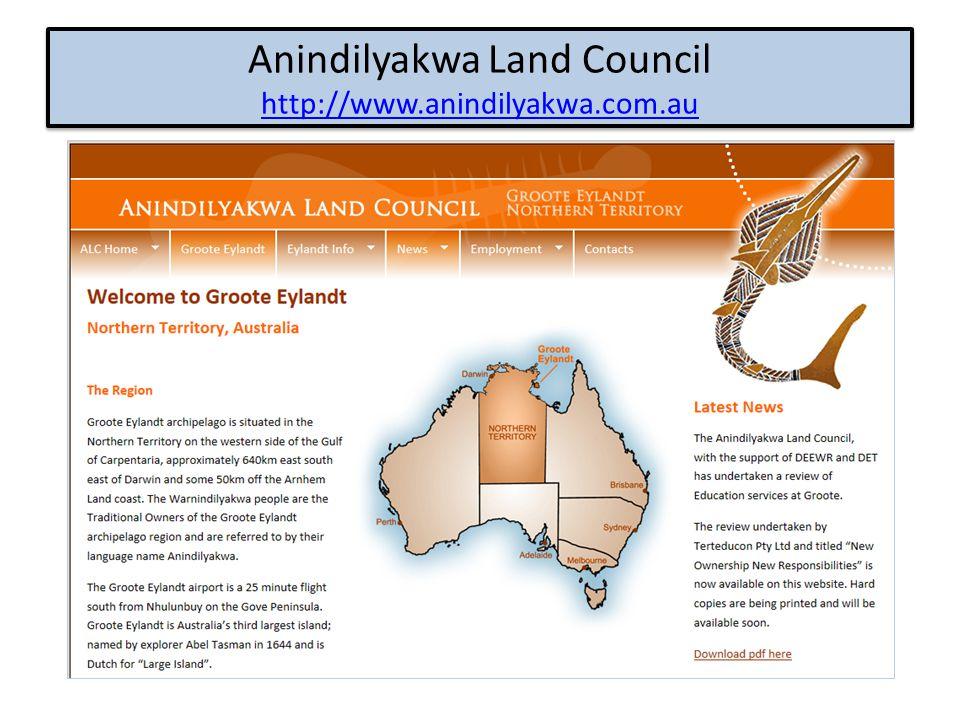 Anindilyakwa Land Council http://www.anindilyakwa.com.au http://www.anindilyakwa.com.au Anindilyakwa Land Council http://www.anindilyakwa.com.au http: