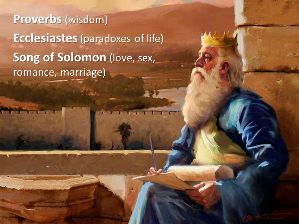 Proverbs (wisdom) Ecclesiastes (paradoxes of life) Song of Solomon (love, sex, romance, marriage)