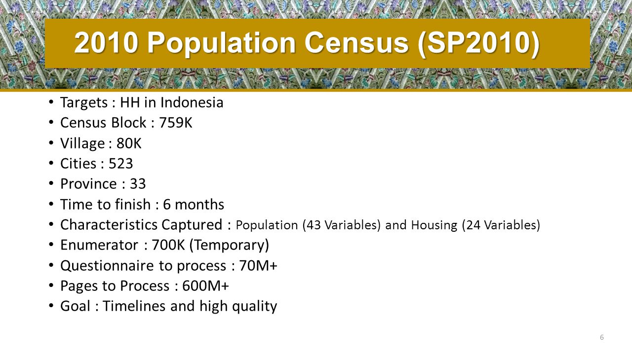 2010 Population Census (SP2010) Targets : HH in Indonesia Census Block : 759K Village : 80K Cities : 523 Province : 33 Time to finish : 6 months Chara