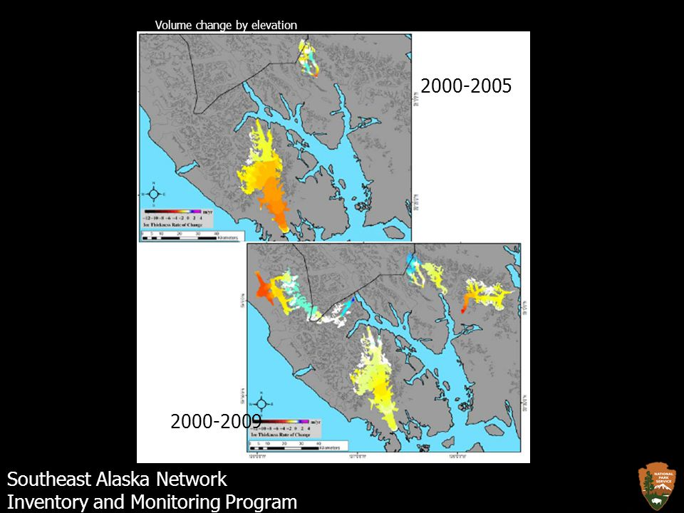 Southeast Alaska Network Inventory and Monitoring Program 2000-2005 2000-2009 Volume change by elevation