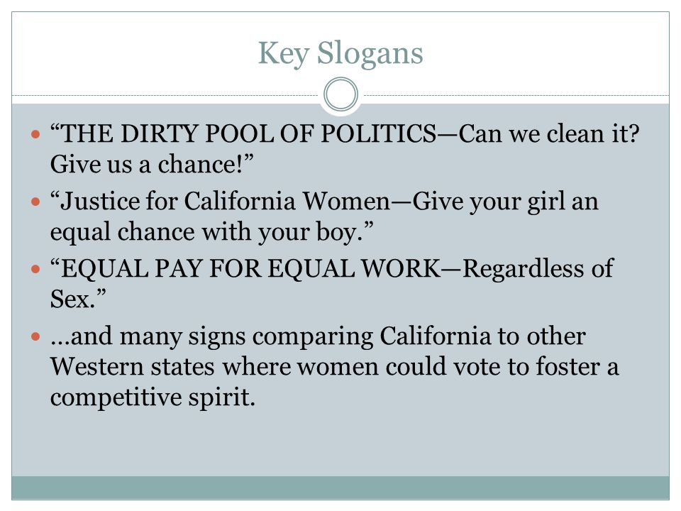 Key Slogans THE DIRTY POOL OF POLITICS—Can we clean it.