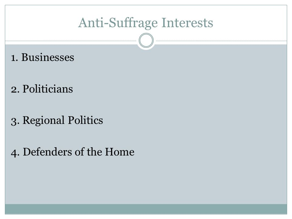 Anti-Suffrage Interests 1. Businesses 2. Politicians 3. Regional Politics 4. Defenders of the Home