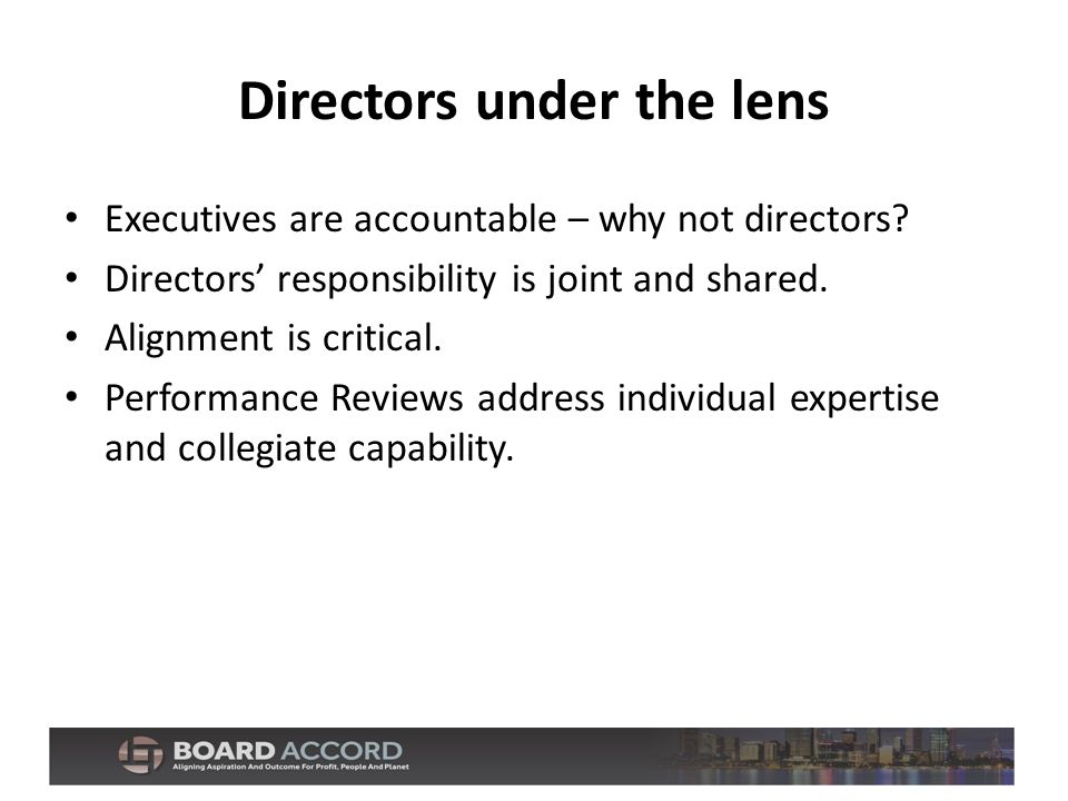 Directors under the lens Executives are accountable – why not directors.