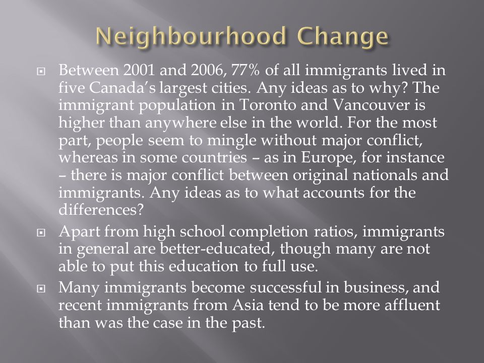  Between 2001 and 2006, 77% of all immigrants lived in five Canada's largest cities.