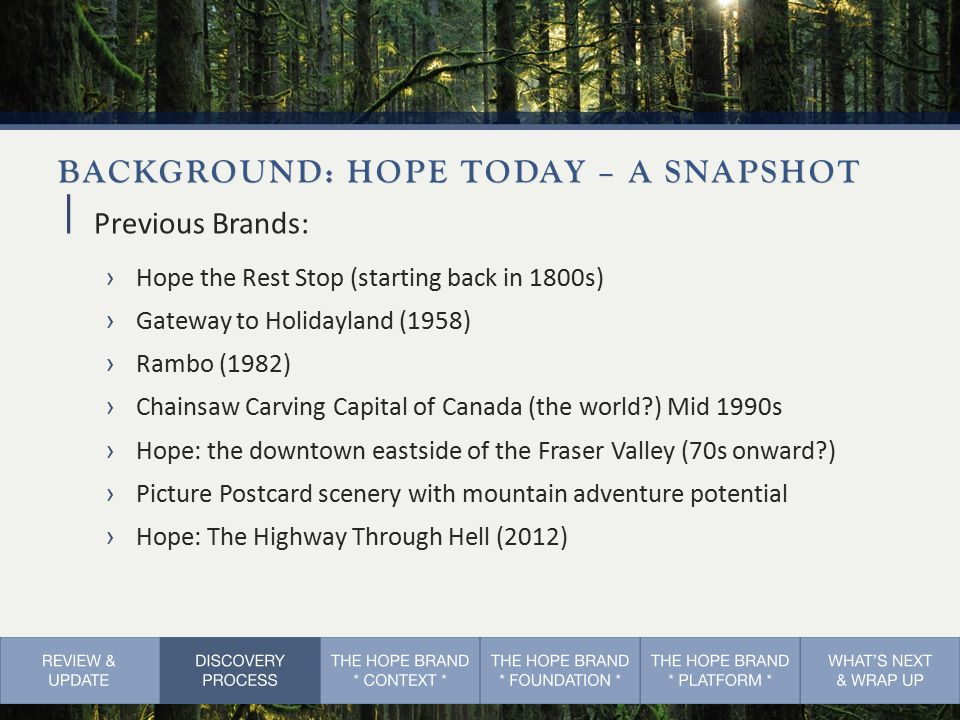 BACKGROUND: HOPE TODAY – A SNAPSHOT  Previous Brands: ›Hope the Rest Stop (starting back in 1800s) ›Gateway to Holidayland (1958) ›Rambo (1982) ›Chainsaw Carving Capital of Canada (the world ) Mid 1990s ›Hope: the downtown eastside of the Fraser Valley (70s onward ) ›Picture Postcard scenery with mountain adventure potential ›Hope: The Highway Through Hell (2012)