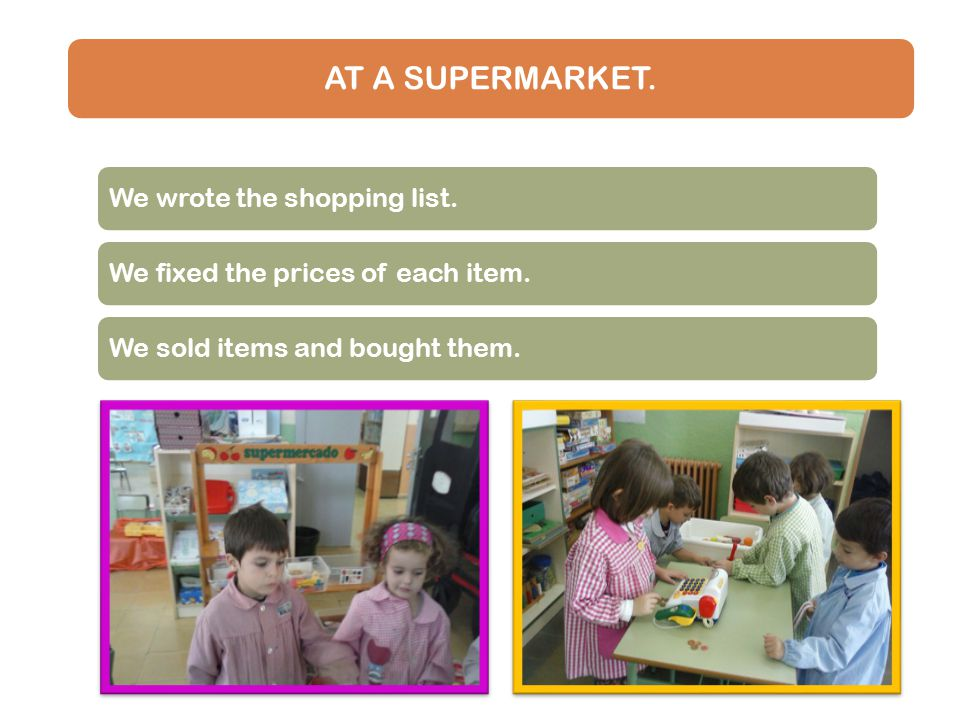 AT A SUPERMARKET. We wrote the shopping list.We fixed the prices of each item.We sold items and bought them.