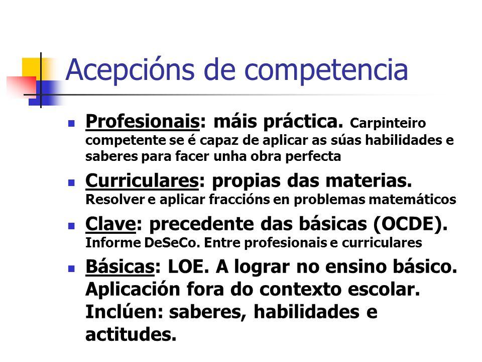 Acepcións de competencia Profesionais: máis práctica.