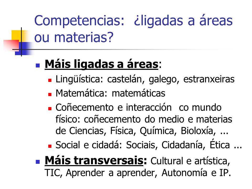 Competencias: ¿ligadas a áreas ou materias.