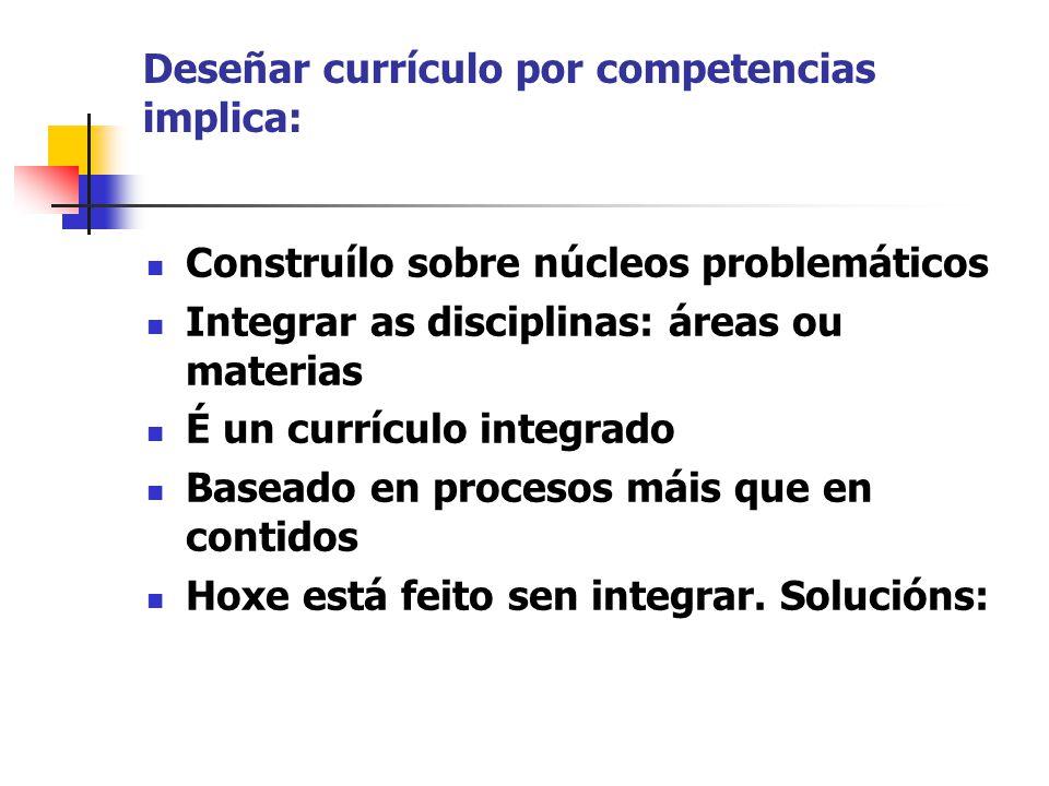 Deseñar currículo por competencias implica: Construílo sobre núcleos problemáticos Integrar as disciplinas: áreas ou materias É un currículo integrado Baseado en procesos máis que en contidos Hoxe está feito sen integrar.