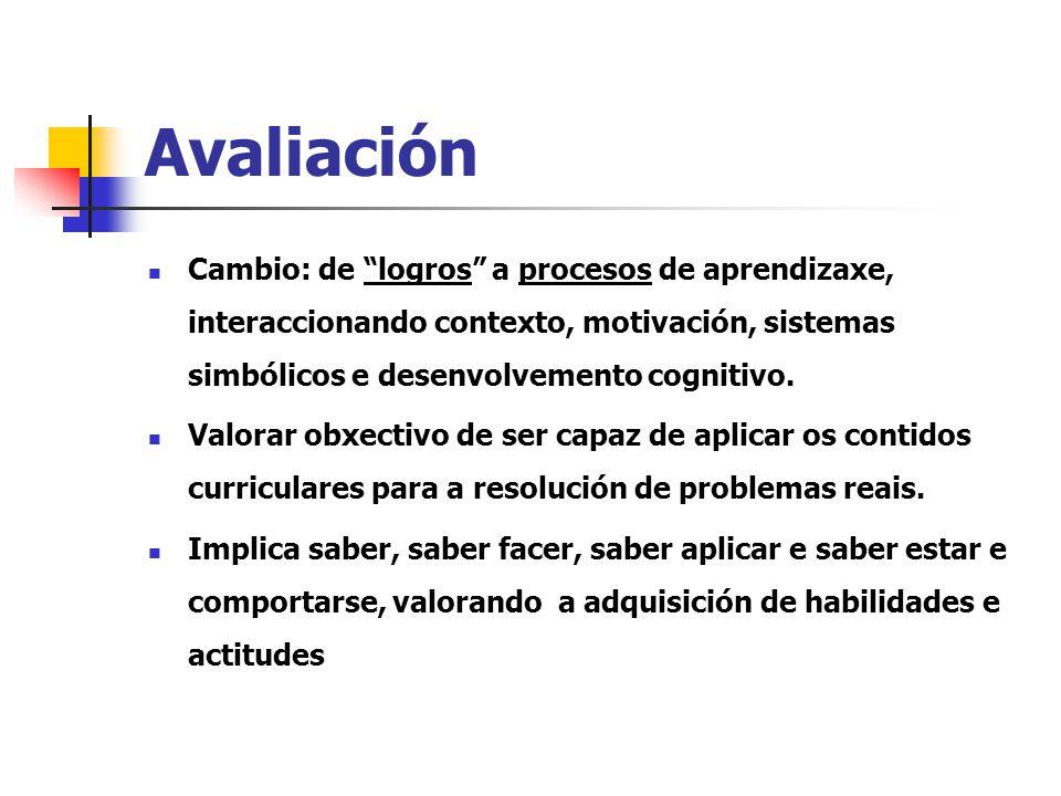 Avaliación Cambio: de logros a procesos de aprendizaxe, interaccionando contexto, motivación, sistemas simbólicos e desenvolvemento cognitivo.