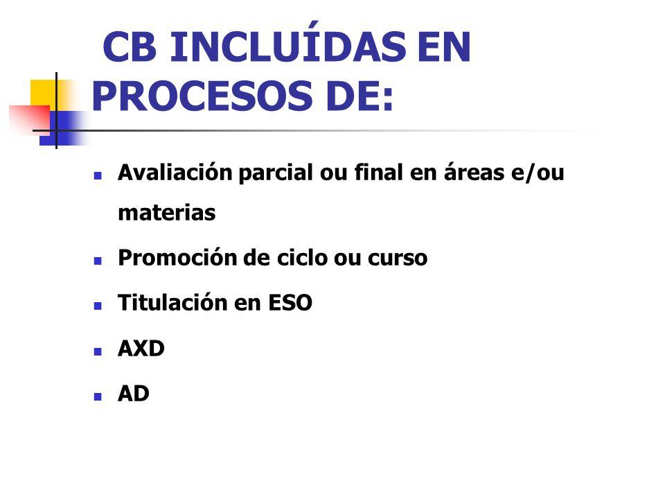 CB INCLUÍDAS EN PROCESOS DE: Avaliación parcial ou final en áreas e/ou materias Promoción de ciclo ou curso Titulación en ESO AXD AD