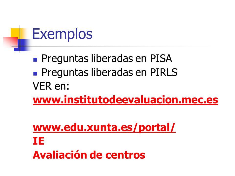 Exemplos Preguntas liberadas en PISA Preguntas liberadas en PIRLS VER en: www.institutodeevaluacion.mec.es www.edu.xunta.es/portal/ IE Avaliación de centros
