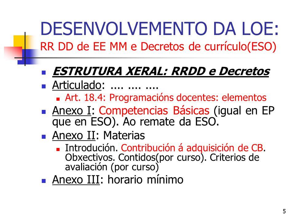 5 DESENVOLVEMENTO DA LOE: RR DD de EE MM e Decretos de currículo(ESO) ESTRUTURA XERAL: RRDD e Decretos Articulado:............