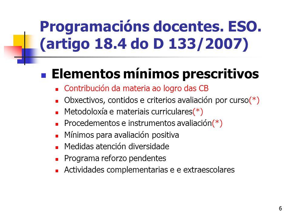6 Programacións docentes. ESO.