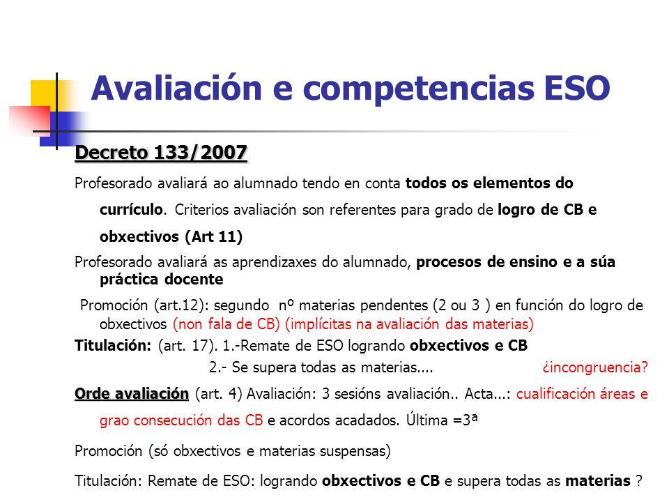 Avaliación e competencias ESO Decreto 133/2007 Profesorado avaliará ao alumnado tendo en conta todos os elementos do currículo.