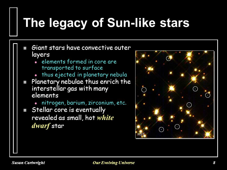 Susan CartwrightOur Evolving Universe9 Fusing heavy elements n Massive stars have much hotter cores l l successfully fuse elements up to iron n But this is a very temporary respite: l l for a star of 20 solar masses,   hydrogen fusion lasts around 15 million years   helium fusion lasts around one million years   carbon fusion lasts 300 years   oxygen fusion lasts for 7 months   silicon fusion lasts for two days and produces an iron core not to scale!