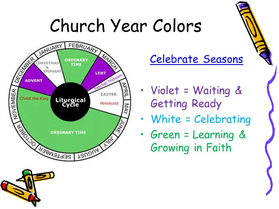 Church Year Colors Celebrate Seasons Violet = Waiting & Getting Ready White = Celebrating Green = Learning & Growing in Faith