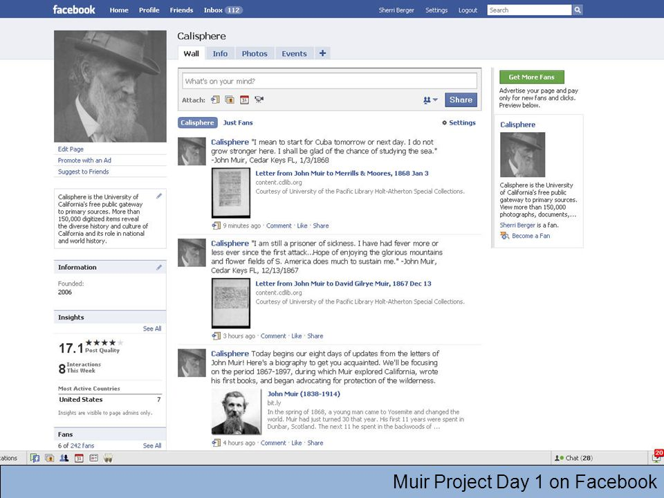 Muir Project Day 1 on Facebook