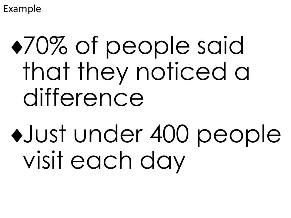  70% of people said that they noticed a difference  Just under 400 people visit each day Example