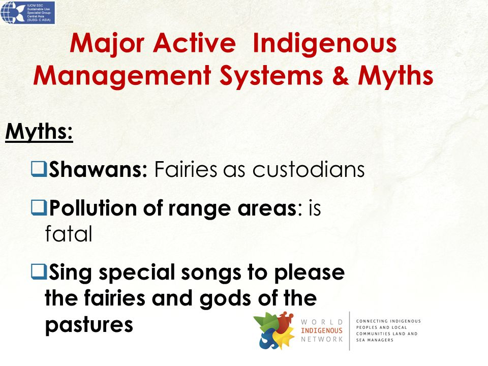 Major Active Indigenous Management Systems & Myths Myths:  Shawans: Fairies as custodians  Pollution of range areas : is fatal  Sing special songs to please the fairies and gods of the pastures