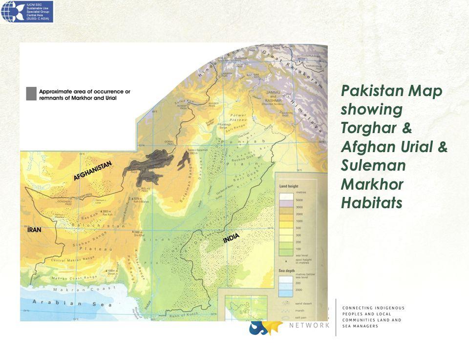 Pakistan Map showing Torghar & Afghan Urial & Suleman Markhor Habitats