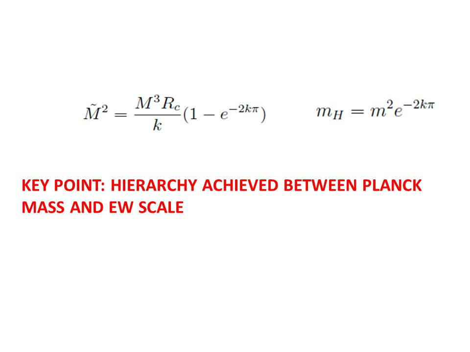 KEY POINT: HIERARCHY ACHIEVED BETWEEN PLANCK MASS AND EW SCALE