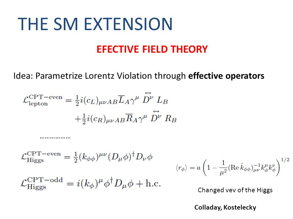 THE SM EXTENSION Idea: Parametrize Lorentz Violation through effective operators EFECTIVE FIELD THEORY ……………… Changed vev of the Higgs Colladay, Kostelecky