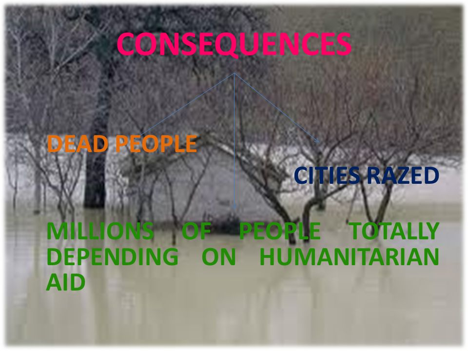 CONSEQUENCES DEAD PEOPLE CITIES RAZED MILLIONS OF PEOPLE TOTALLY DEPENDING ON HUMANITARIAN AID