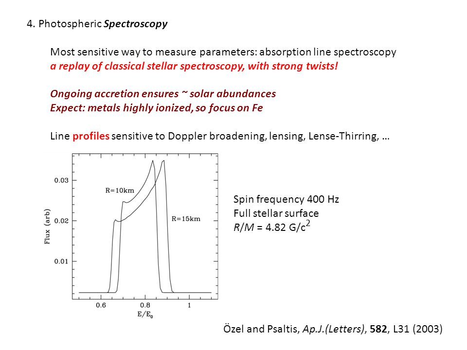 4. Photospheric Spectroscopy Most sensitive way to measure parameters: absorption line spectroscopy a replay of classical stellar spectroscopy, with s