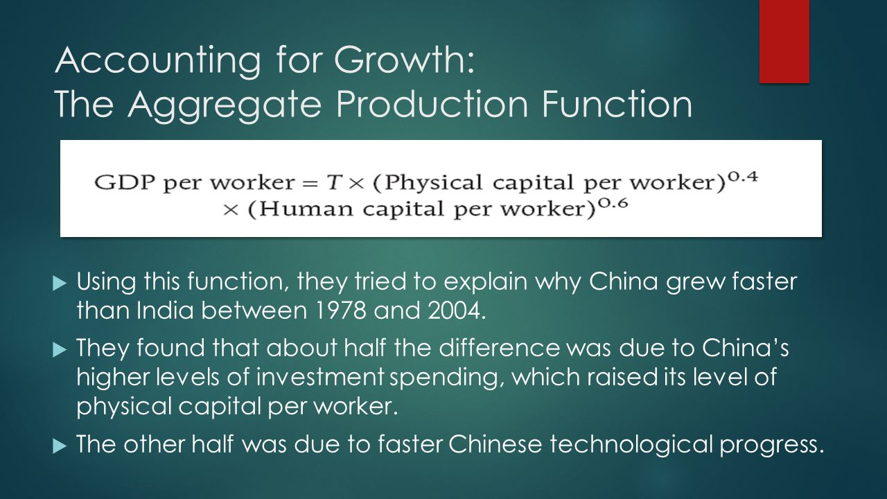 Accounting for Growth: The Aggregate Production Function  Using this function, they tried to explain why China grew faster than India between 1978 and 2004.