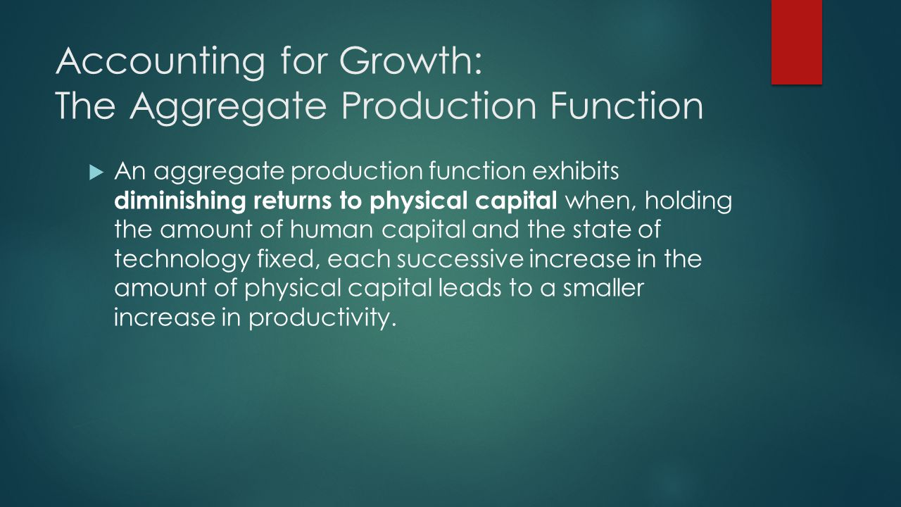 Accounting for Growth: The Aggregate Production Function  An aggregate production function exhibits diminishing returns to physical capital when, holding the amount of human capital and the state of technology fixed, each successive increase in the amount of physical capital leads to a smaller increase in productivity.