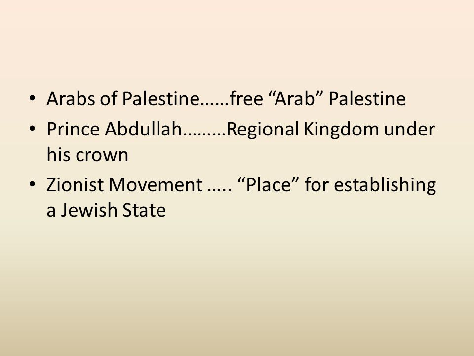 Arabs of Palestine……free Arab Palestine Prince Abdullah………Regional Kingdom under his crown Zionist Movement …..