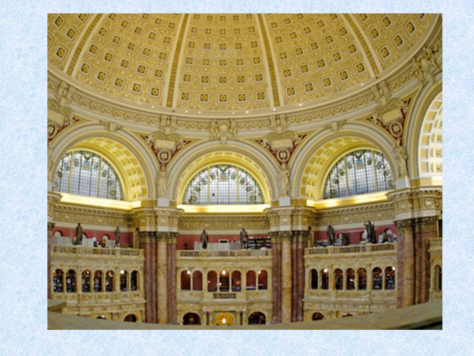 The main reading room is 4 stories tall and ends with a nice cupola
