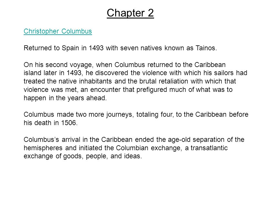 Christopher Columbus Returned to Spain in 1493 with seven natives known as Tainos.