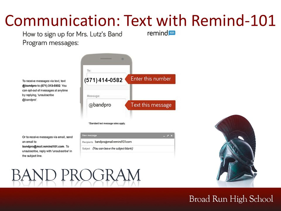 Communication: Text with Remind-101 (571) 414-0582