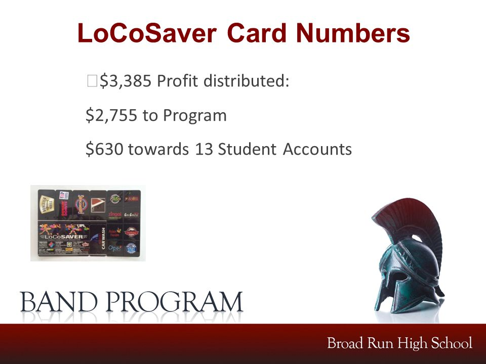 LoCoSaver Card Numbers $3,385 Profit distributed: $2,755 to Program $630 towards 13 Student Accounts