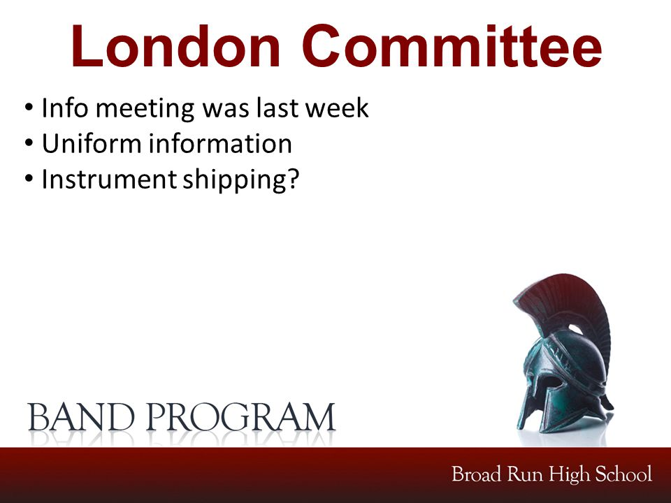 London Committee Info meeting was last week Uniform information Instrument shipping