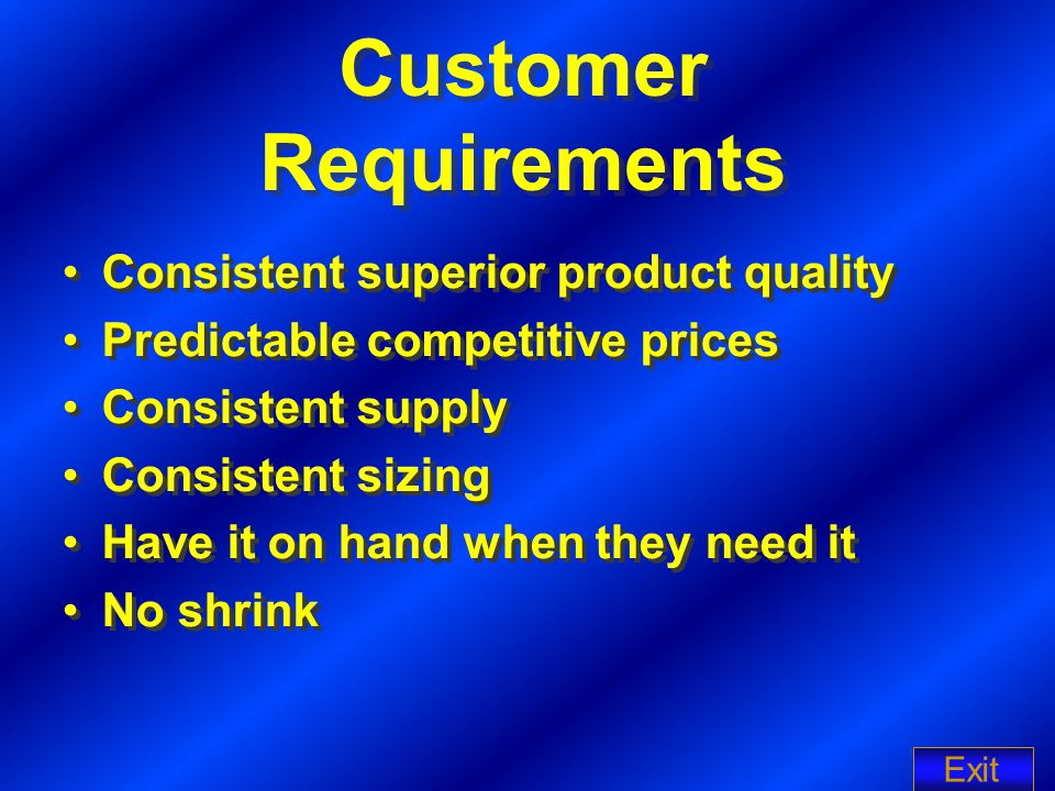 Customer Requirements Consistent superior product quality Predictable competitive prices Consistent supply Consistent sizing Have it on hand when they