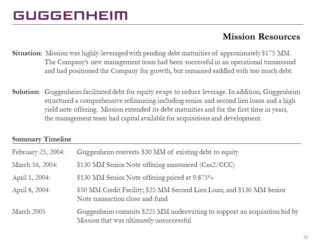 10 Situation: Mission was highly-leveraged with pending debt maturities of approximately $175 MM.