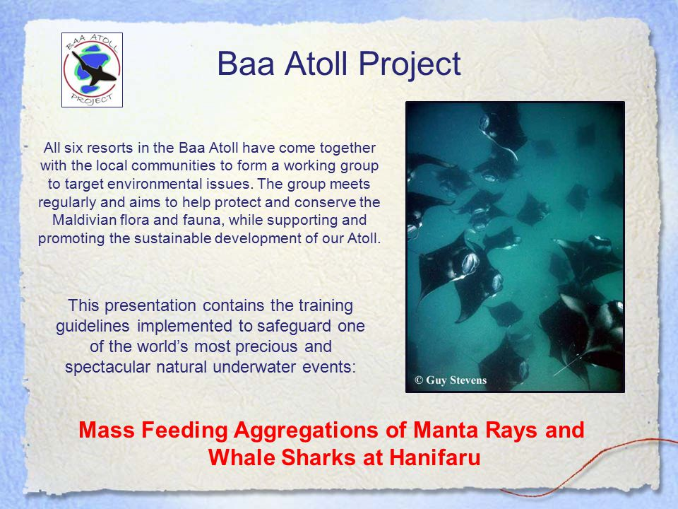 Baa Atoll Project Mass Feeding Aggregations of Manta Rays and Whale Sharks at Hanifaru All six resorts in the Baa Atoll have come together with the local communities to form a working group to target environmental issues.