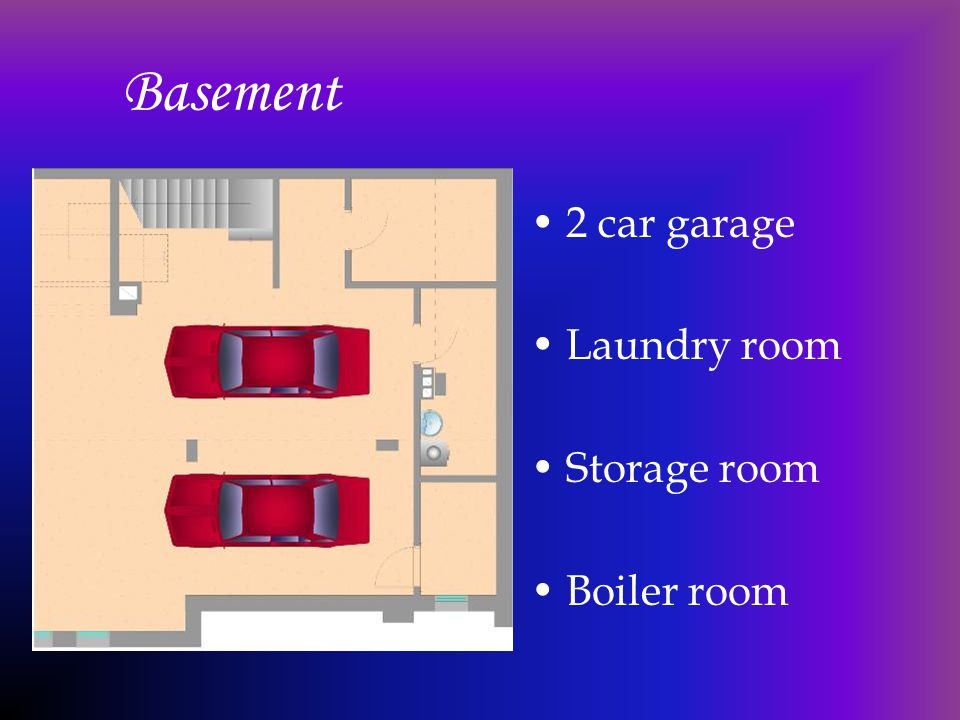 Basement 2 car garage Laundry room Storage room Boiler room