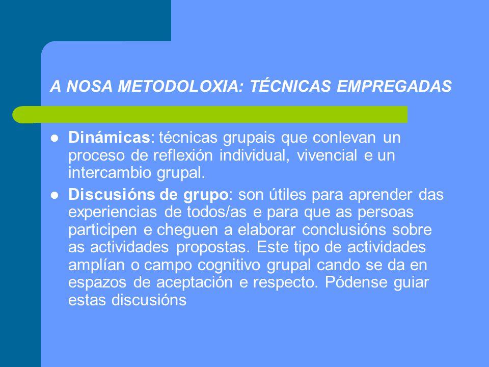 A NOSA METODOLOXIA: TÉCNICAS EMPREGADAS Dinámicas: técnicas grupais que conlevan un proceso de reflexión individual, vivencial e un intercambio grupal.