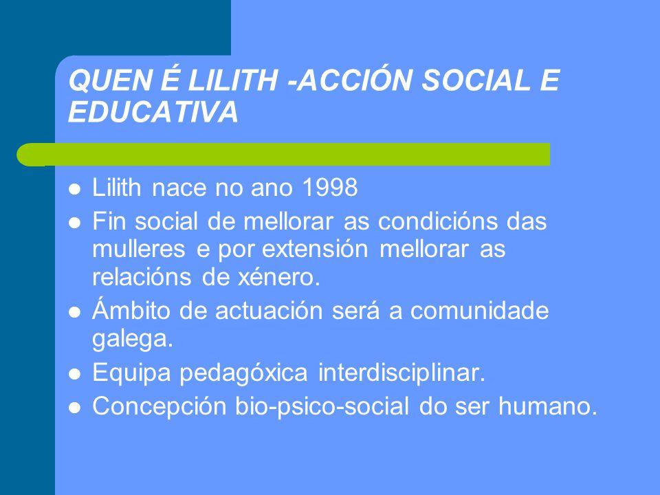 QUEN É LILITH -ACCIÓN SOCIAL E EDUCATIVA Lilith nace no ano 1998 Fin social de mellorar as condicións das mulleres e por extensión mellorar as relacións de xénero.