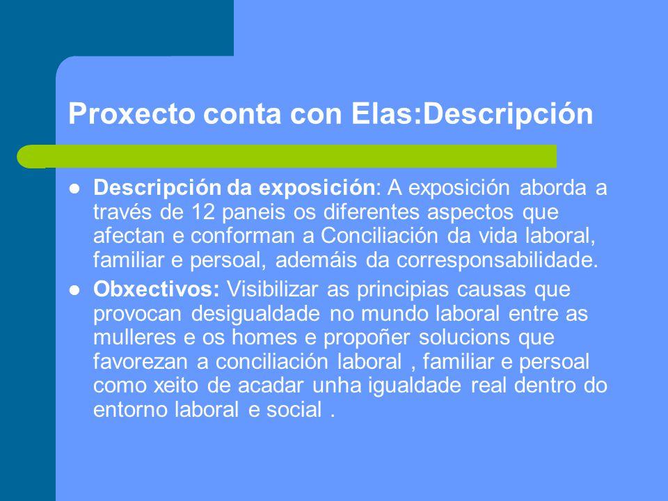 Proxecto conta con Elas:Descripción Descripción da exposición: A exposición aborda a través de 12 paneis os diferentes aspectos que afectan e conforman a Conciliación da vida laboral, familiar e persoal, ademáis da corresponsabilidade.