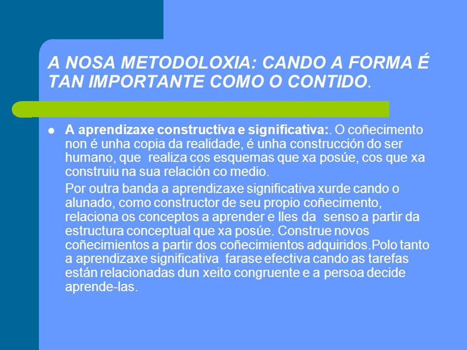 A NOSA METODOLOXIA: CANDO A FORMA É TAN IMPORTANTE COMO O CONTIDO.