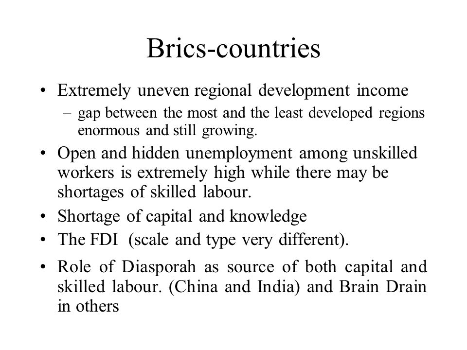 Towards a research design for BRICS –The concepts (NIS, learning, etc): need to be redefined from a Southern perspective Power (geo politics, MNCs, etc) Financial globalization Privatization, deregulation, Diversity and institutions The local (regional) dimension Informality and the second economy The role of indigenous knowledge