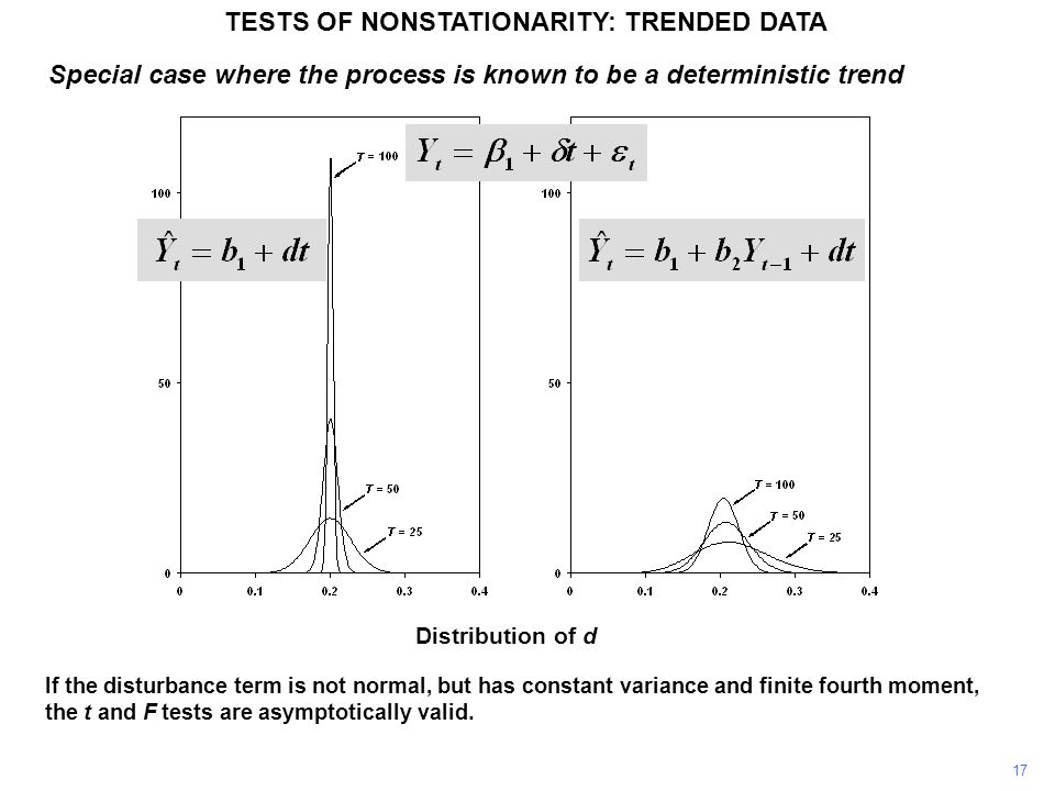 Distribution of d Special case where the process is known to be a deterministic trend TESTS OF NONSTATIONARITY: TRENDED DATA 17 If the disturbance term is not normal, but has constant variance and finite fourth moment, the t and F tests are asymptotically valid.