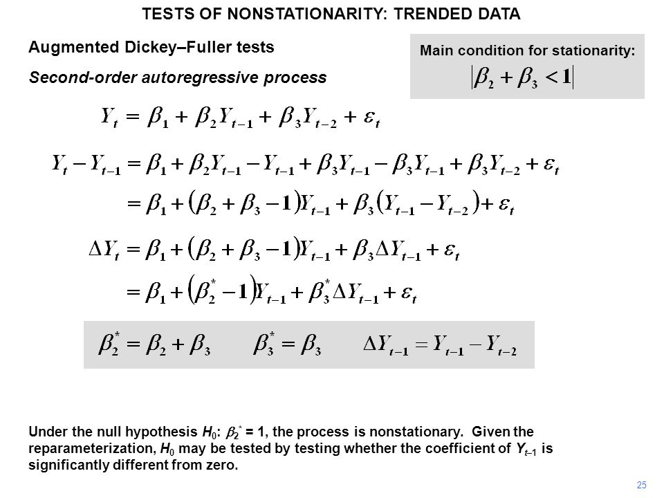 Augmented Dickey–Fuller tests Second-order autoregressive process TESTS OF NONSTATIONARITY: TRENDED DATA 25 Under the null hypothesis H 0 :  2 * = 1, the process is nonstationary.